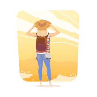 Młoda kobieta chodzi samotnie na halnym śladzie. dziewczyna patrzy na zachód słońca. przygodowa wycieczka. letni wypoczynek. dookoła świata. styl kreskówkowy. ilustracja.
