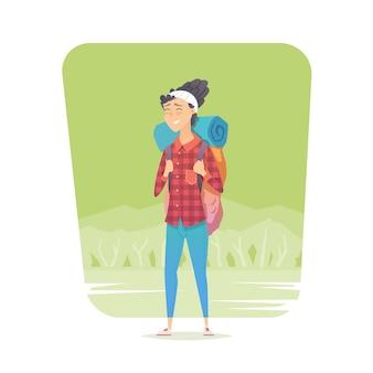 Młoda kobieta chodzi samotnie na lasowym śladzie. przygodowa wycieczka. letni wypoczynek. dookoła świata. styl kreskówkowy. ilustracja.