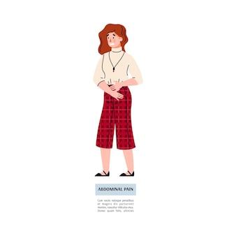 Młoda kobieta cierpi na ból brzucha ilustracja wektorowa na białym tle