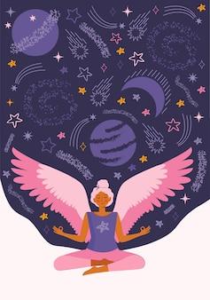 Młoda kobieta ćwiczy jogę i medytację w domu podczas kwarantanny. dziewczyna z wirtualnymi skrzydłami medytuje między kosmosem, gwiazdami i wszechświatem. spędź czas w domu z korzyściami. płaska ilustracja.