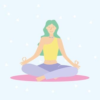 Młoda kobieta ćwiczy jogę. praktyka fizyczna i duchowa. ilustracja wektorowa w stylu cartoon płaski. kobiety zdrowy sport styl życia, trening pilates.