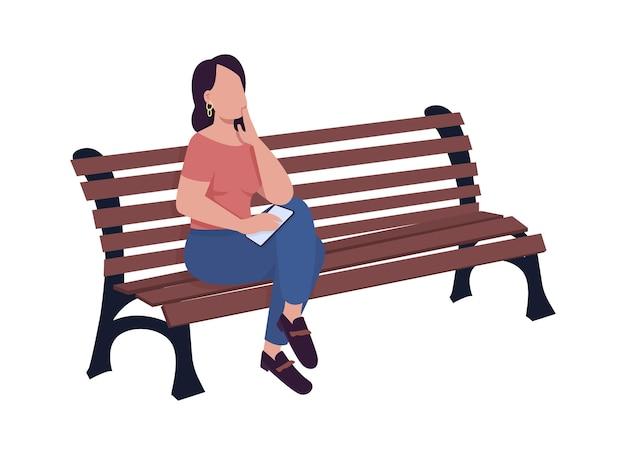 Młoda kobieta czeka na kogoś na ławce pół płaski kolor wektor znaków