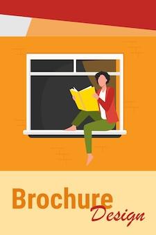 Młoda kobieta, czytanie książki na parapecie. dziewczyna korzystających z powieści, student robi ilustracja wektorowa płaskie zadanie domowe. wiedza, literatura, koncepcja czytelnika