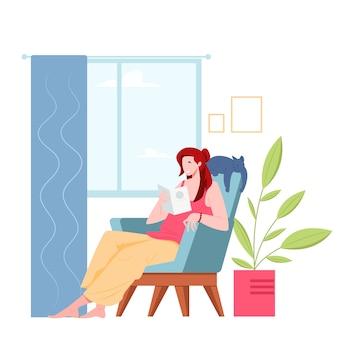 Młoda kobieta, czytanie książki siedząc w fotelu w płaska konstrukcja