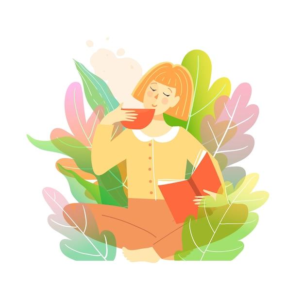 Młoda kobieta, czytanie książki w przyrodzie siedzi w kwiatach drzew lub krzewów