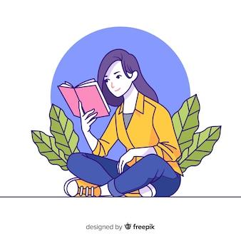 Młoda kobieta, czytanie w stylu koreańskim rysunku