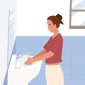 Młoda kobieta do mycia rąk w domu do czyszczenia dłoni pod bieżącą wodą w łazience umywalka. zapobieganie wirusom i infekcjom. koncepcja higieny. ilustracja w stylu płaskiej