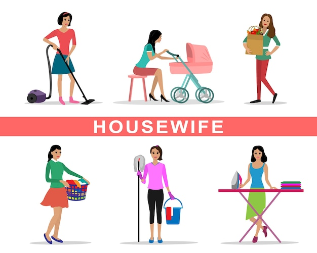 Młoda kobieta gospodyni zestaw robi ilustracja prace domowe