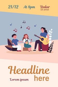 Młoda kobieta gra na gitarze dla dzieci