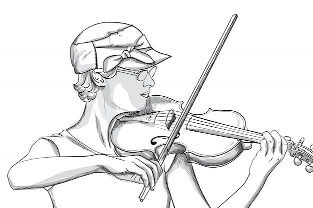 Młoda kobieta gra o skrzypce w okularach i kapelusz. grafika liniowa