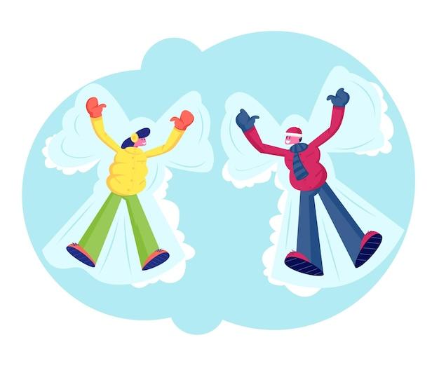 Młoda kobieta i mężczyzna na sobie ciepłe ubrania, leżąc na ziemi, co śnieg anioł. płaskie ilustracja kreskówka