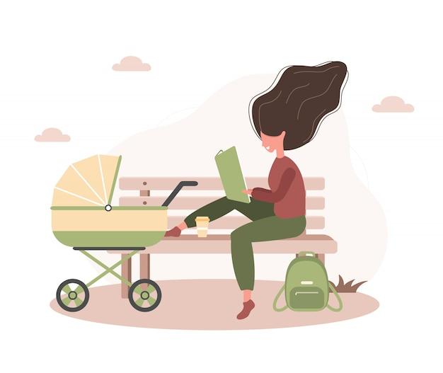 Młoda kobieta idzie z jej nowonarodzonym dzieckiem w żółtym wózku. dziewczyna siedzi z wózkiem i dzieckiem w parku na świeżym powietrzu. ilustracje w stylu płaskiej.