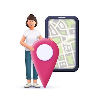 Młoda kobieta jane oznaczanie lokalizacji na mapie miasta online na smartfonie. nawigacja, zadania, koncepcja biznesowa. 3d wektor ilustracja postaci ludzi.