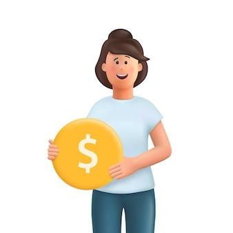Młoda kobieta jane trzyma złotą monetę 3d wektor ilustracja postaci ludzi