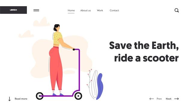 Młoda kobieta, jazda na hulajnodze, baner strony internetowej. postać kobieca jeździ skuter.