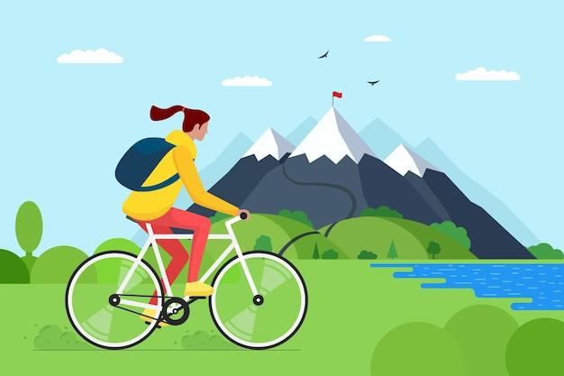 Młoda kobieta jazda rowerem w górach. dziewczyna rowerzysta turystyczna z plecakiem na podróż rowerową w przyrodzie. kobieta rowerzysta aktywny wypoczynek na wzgórzu jeziora i lasu. ilustracja wektorowa wycieczki rowerowej