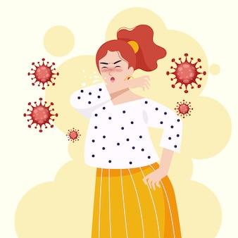 Młoda kobieta kaszel i rozprzestrzenianie koronawirusa