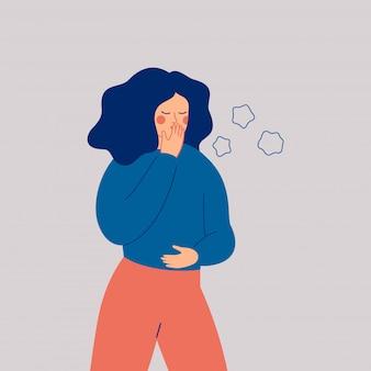 Młoda kobieta kaszle. chora dziewczyna z objawami grypy