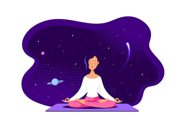 Młoda kobieta kaukaski siedzi w pozycji lotosu z kosmosu wokół. praktyka jogi i medytacji. płaski styl ilustracja na białym tle