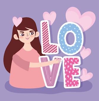 Młoda kobieta kreskówka miłość tekst i serca romantyczny design