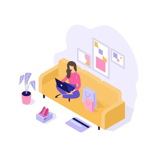 Młoda kobieta kupuje rzeczy online 3d isometric ilustrację na bielu
