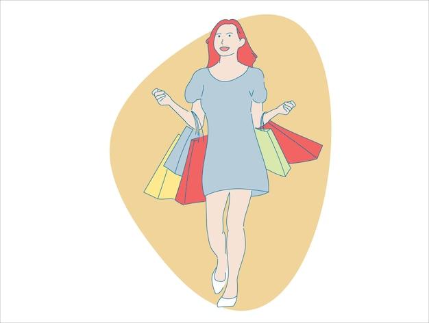 Młoda kobieta ładna dziewczyna w motywach zakupy podróże, wektor