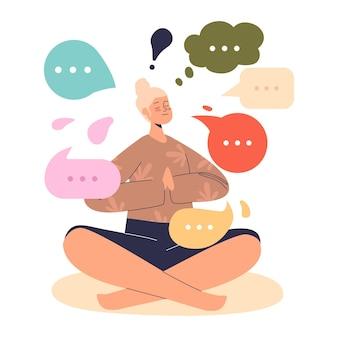 Młoda kobieta medytuje, siedząc w pozycji lotosu, relaksując się i odtwarzając. kobieta praktyka jogi do medytacji. koncepcja odnowy biologicznej i zdrowia. ilustracja kreskówka płaski wektor