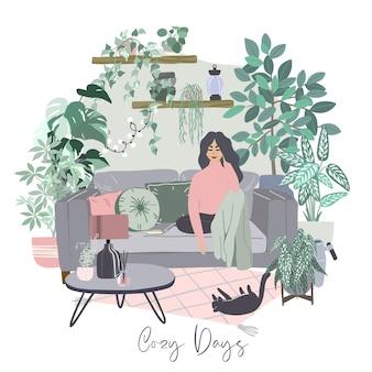 Młoda kobieta na kanapie. przytulne wnętrze pokoju scandi z dużą ilością roślin w doniczkach, koncepcja miejskiej dżungli, pastelowe niebieskawe i różowe kolory, ręcznie rysowane płaska ilustracja