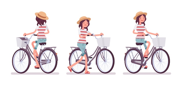 Młoda kobieta na rowerze na rowerze