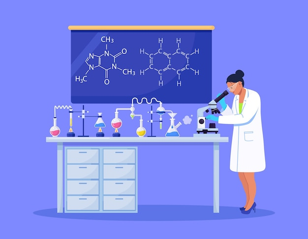 Młoda kobieta naukowiec patrząc przez mikroskop w laboratorium robi badania chemiczne, analizę mikrobiologiczną lub test medyczny. ilustracja wektorowa
