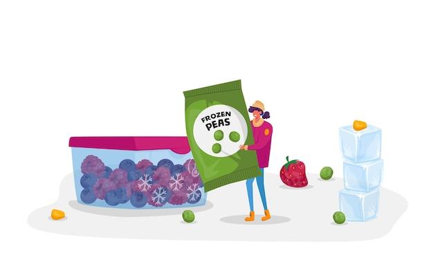 Młoda kobieta niesie pakiet z mrożonym zielonym groszkiem w pobliżu pojemnika z mrożonymi jagodami. zdrowa żywność, mrożone warzywa jako źródło witaminy i zdrowia, produkty ekologiczne. postać z kreskówki