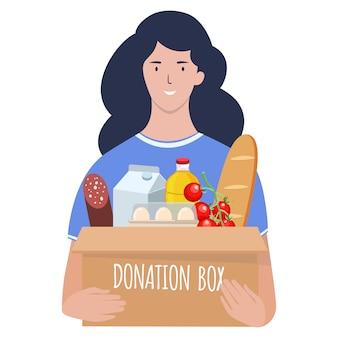 Młoda kobieta niesie pudełko jedzenia. pojęcie opieki społecznej, wolontariatu i działalności charytatywnej. płaska ilustracja