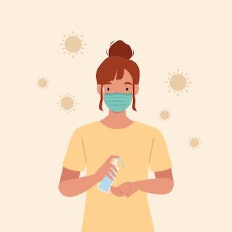 Młoda kobieta nosi maski użyj antyseptycznego żelu z alkoholem do czyszczenia rąk i zapobiegania zarazkom. ilustracja w stylu płaskiej