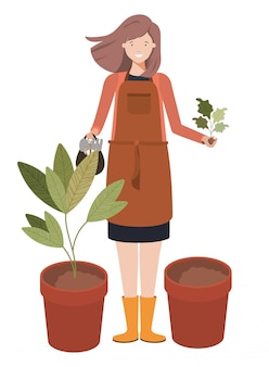 Młoda kobieta ogrodnik avatar charakter