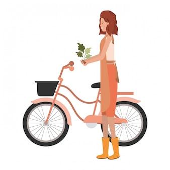 Młoda kobieta ogrodnik na rowerze avatar charakter