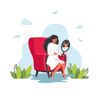 Młoda kobieta, patrząc na siebie w lustrze, siedząc na krześle. dziewczyna szuka sobie odbicie w lustrze. uśmiechnięta dziewczyna patrząc na siebie w lustrze. koncepcja refleksji. ilustracja wektorowa