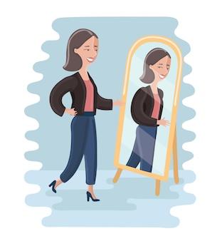 Młoda kobieta, patrząc na siebie w lustrze w garderobie