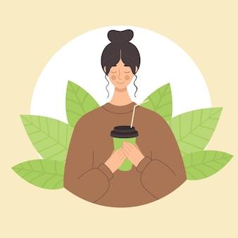 Młoda kobieta pije herbatę matcha w plastikowym kubku. japońskie tradycje, zielona herbata, kawa na wynos. kawiarnia. płaska ilustracja