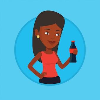 Młoda kobieta pije sodowaną wektorową ilustrację.