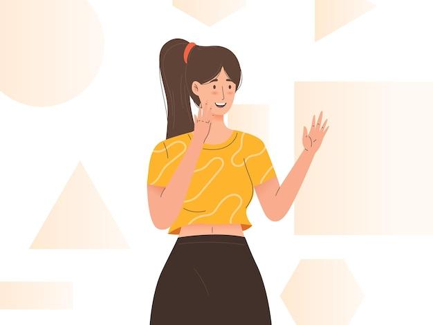 Młoda kobieta podekscytowana reakcjami szczęśliwa zadowolona nastolatka