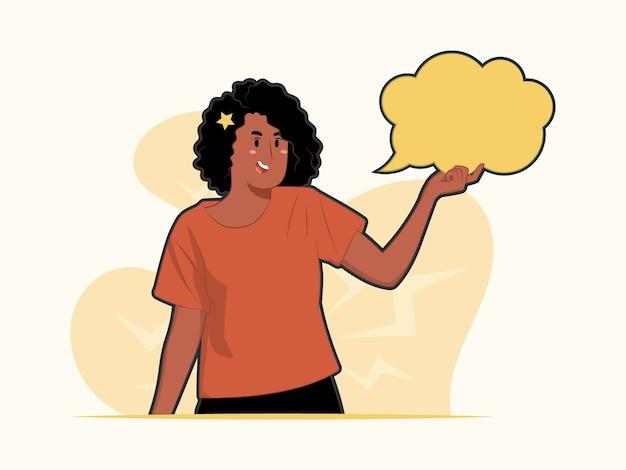 Młoda kobieta pokaż pole tekstowe, dymek i koncepcja przestrzeni kopii