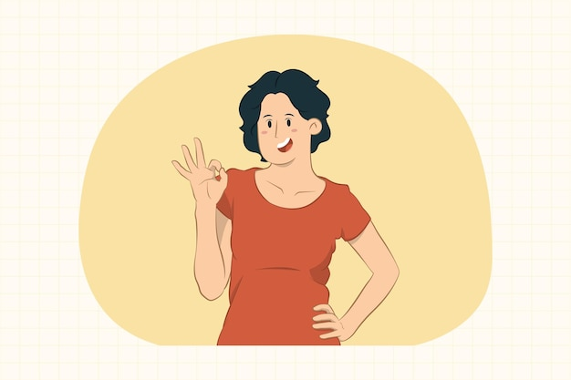 Młoda kobieta pokazuje ok gest