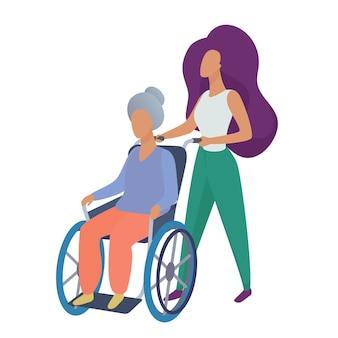 Młoda kobieta pracownik socjalny wolontariusz opiekujący się starą niepełnosprawną kobietą na wózku inwalidzkim ilustracji