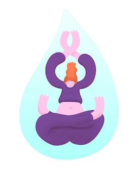 Młoda kobieta praktykujących jogę wewnątrz spadającej kropli wody