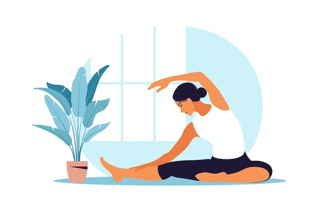 Młoda kobieta praktykuje jogę