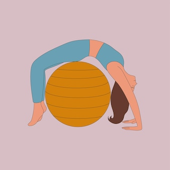 Młoda kobieta robi ćwiczenia z dopasowaną ilustracją piłki w stylu płaskiej kreskówki