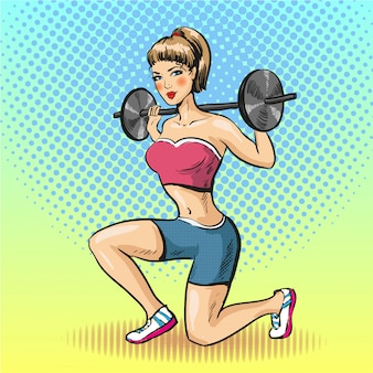 Młoda kobieta robi fitness ze sztangą w stylu pop-art