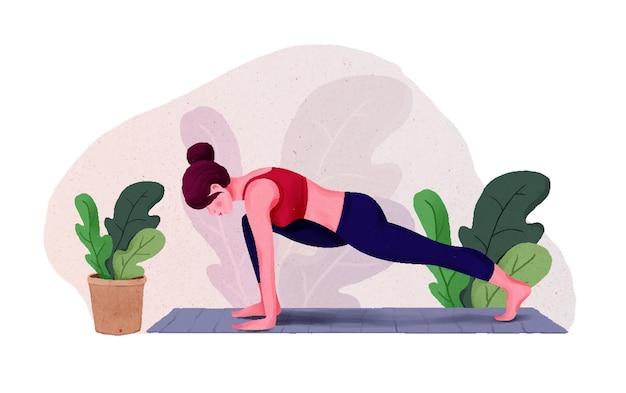 Młoda kobieta robi joga na obchody dnia jogi