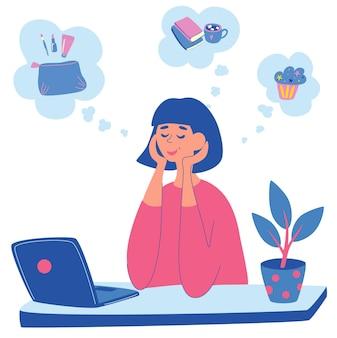 Młoda kobieta siedzi przy stole z laptopem i myśli o czymś. dziewczyna marzy o kosmetykach, pysznym cieście czy czytaniu książek przy kawie. koncepcja marzy dziewczyna. ilustracja wektorowa