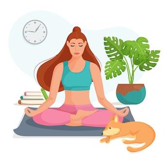 Młoda kobieta siedzi w pozycji lotosu i medytuje w domu. pojęcie jogi, medytacji i relaksu. korzyści zdrowotne dla ciała, umysłu i emocji. płaska ilustracja.